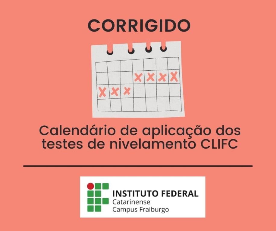 Calendário dos testes de nivelamento CLIFC corrigido